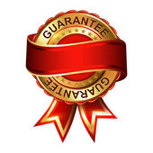 Guarantee empty gold label with ribbon. — Stock Vector