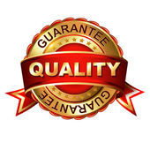 Quality guarantee  label with ribbon. — Stock Vector
