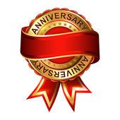 Anniversary empty label with ribbon. — Stock Vector