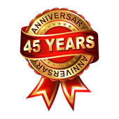 45 years anniversary  label with ribbon. — Stock Vector