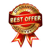 Best offer guarantee label with ribbon. — Stock Vector