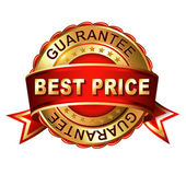 Best price guarantee golden label — Stock Vector