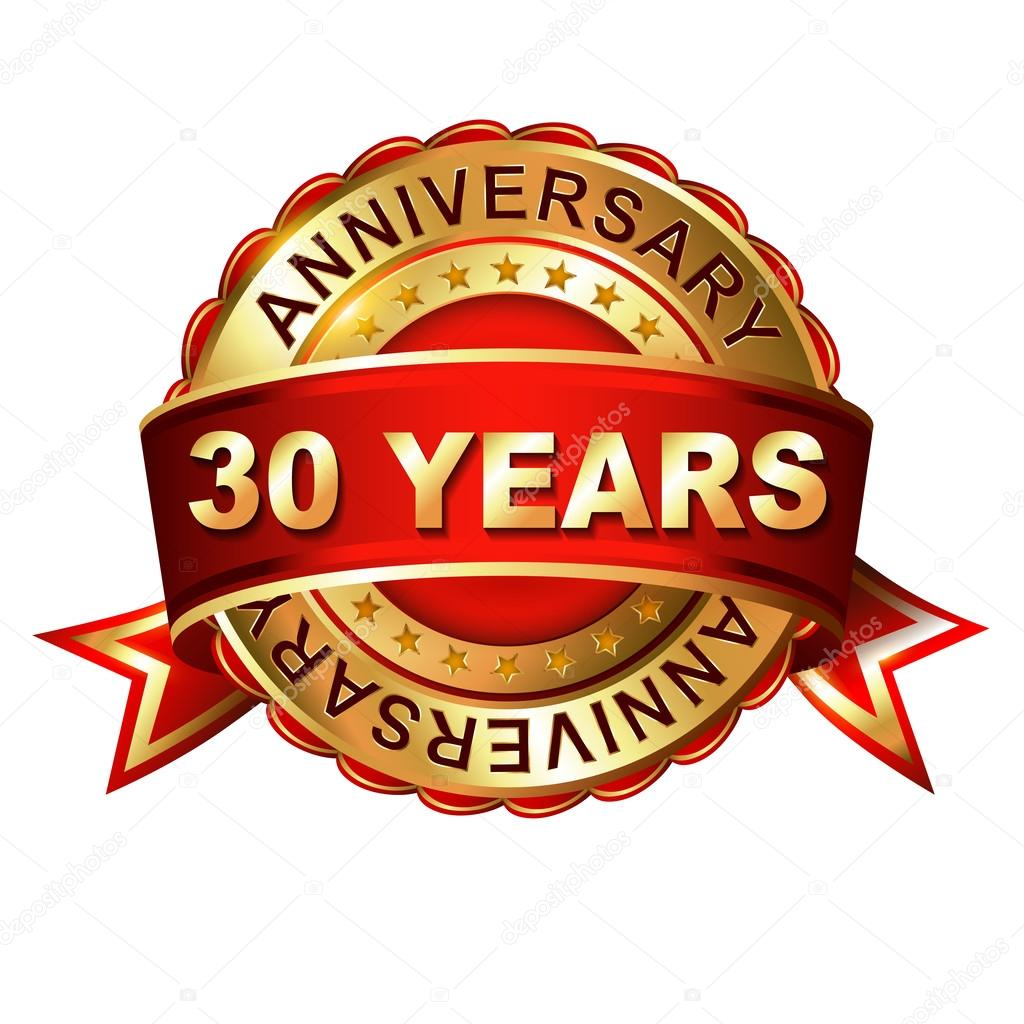 30 Years Anniversary Label With Ribbon Stock Vector