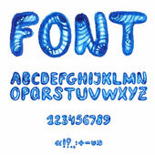 Handwritten watercolor alphabet with symbols. — Stok Vektör