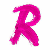 R - Pink handwritten letter — Wektor stockowy