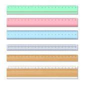 Wood and colors school rulers — Wektor stockowy