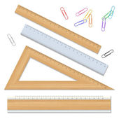 Wood school rulers and color paperclips — Stock Vector