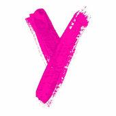 Y - розовый рукописное письмо — Cтоковый вектор