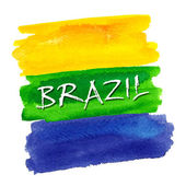 Watercolor Brazil flag — Stock Vector