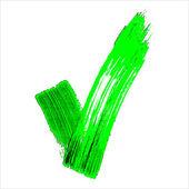 Green acrylic validation V icon — Stock Vector