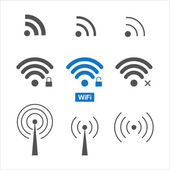 Wireless wifi icons set — Stock Vector