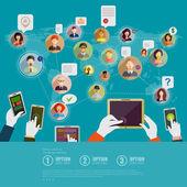 Koncepcja społecznej sieci — Wektor stockowy