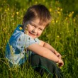 Little boy in a dandelion meadow — Stock Photo