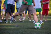 Kick off soccer ball — Stock Photo