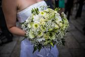 Wedding flower with bride — Stock Photo