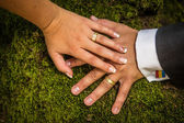 Rings at wedding with flower — Stock Photo
