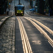 Tram and rail — Stock Photo