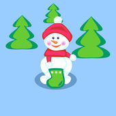 Snowman with stocking — Stock Vector