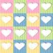 Set of hearts on striped background — Stock Vector