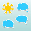 Set of speech bubbles, cloud and sun. — Stock Vector