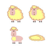 Set of lambs, vector illustration. — Vector de stock