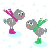 Two winter birds. — Stock Vector