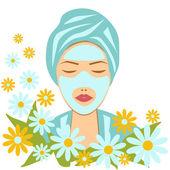 Facial care, beautiful woman with facial mask. — Stock Vector