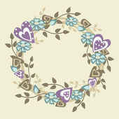 Vintage Valentine wreath. Frame of flowers and hearts. — Stock Vector