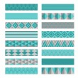 Blue gray ribbons. Washi tapes set. — Stock Vector