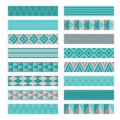 Blue gray ribbons. Washi tapes set. — Stock Vector