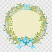 Wedding wreath. Frame of flowers and hearts. Valentine wreath. — 图库矢量图片