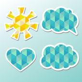 Konuşma balonları, bulut ve güneş. — Stok Vektör