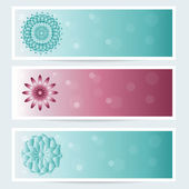 Banners set. Background with optical illusion, abstract geometric flower, mandala. Vector. — Stock Vector