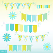 Bunting and garlands, vector illustration. — Stock Vector