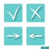 Check mark, cross mark and arrows symbols. Flat design. Vector icon. — Wektor stockowy
