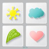 Set di icone di eco. sole, nuvola, foglia, cuore. illustrazione vettoriale. — Vettoriale Stock