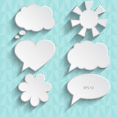 Set of paper speech bubbles, vector illustration. — Stock Vector