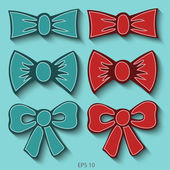 Set of bow tie. Vector illustration. — Vettoriale Stock