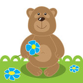 Teddy bear with flower. Vector illustration. — Stock Vector