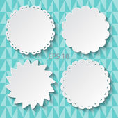 Set of white paper decorative frames. Openwork tags. Vector illustration. — Stock Vector