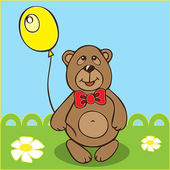 Teddy Bear with balloon. Vector illustration. Contour trace. — Stock Vector