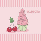 Cupcake, pink custard, cherry. Hand drawn vector illustration. — Stock vektor