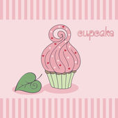 Cupcake, pink custard. Hand drawn vector illustration. — Stock vektor