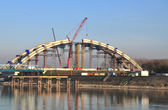 Span construction of a railway bridge over the Danube River — Stock Photo