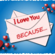 Envelope with the words I love you because — Stock Vector #37671277