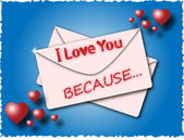 Envelope with the words I love you because — Stockvektor