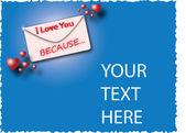 Envelope I love you because ... — ストックベクタ