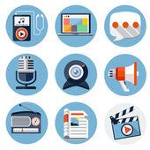 Media platt ikoner för webb och mobila applikationer — Stockvektor