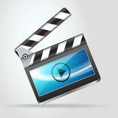 Open movie slate clapperboard — Stock Vector