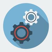 Vector settings , gears flat icon — Stock Vector